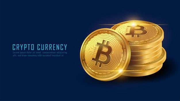 Concept art di una pila di bitcoin. illustratore vettoriale