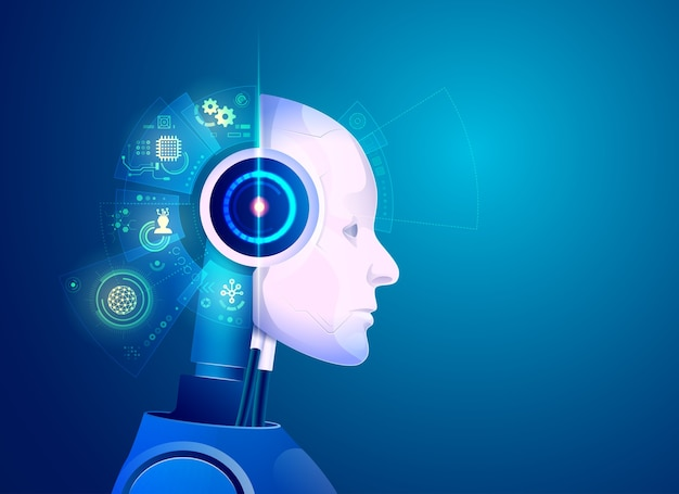 Concetto di tecnologia di intelligenza artificiale, grafica del robot con cervello ologramma