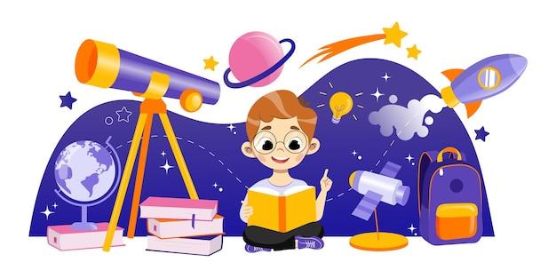 Concetto di astronomia e ritorno a scuola. ragazzo astronomo impara l'argomento. lo studente è seduto vicino al grande telescopio nei dintorni di razzo con pianeti. cartoon contorno lineare piatto