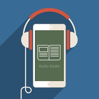 Concetto di audiolibro. prenota con le cuffie, design piatto