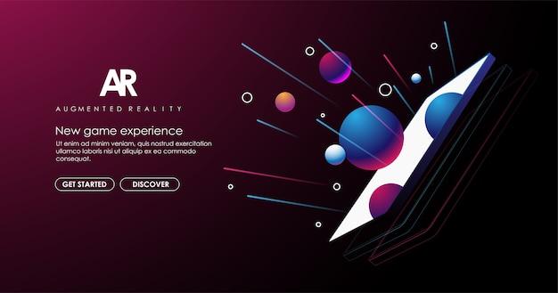 Concetto di realtà aumentata. sviluppo ar e vr. digital media technology per sito web e app mobile.