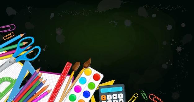 Concetto di ritorno al design dell'istruzione scolastica, materiale scolastico con spazio di copia.