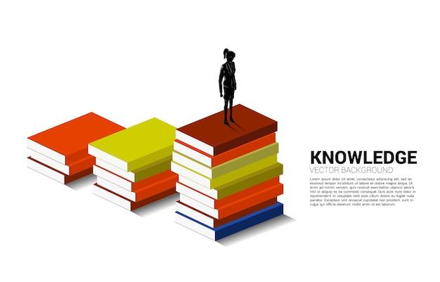 Priorità bassa di concetto per potere della conoscenza. siluetta della donna di affari che sta sulla pila di libri.