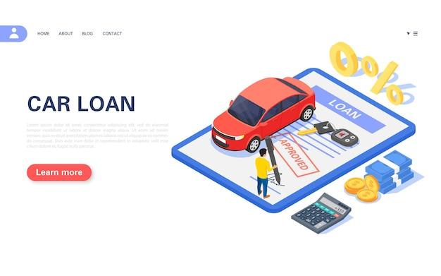 Banner di concetto di prestito auto o noleggio di veicoli. un uomo firma un contratto approvato. illustrazione isometrica di vettore.