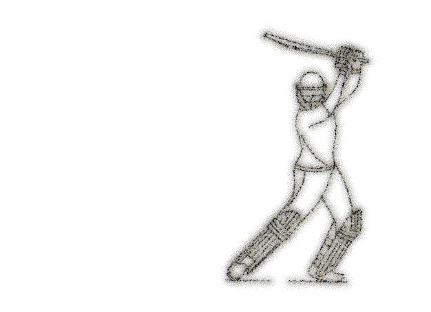 Il concetto di battitore che gioca a cricket alza la mazza dopo aver segnato un intero secolo - campionato, line art design illustrazione vettoriale.