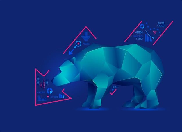 Concetto di ribassista in borsa, grafico di low poly bear con grafico decrescente