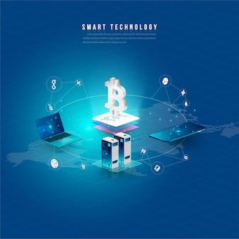 Concetto di elaborazione di big data, stazione energetica del futuro, data center, criptovaluta e blockchain