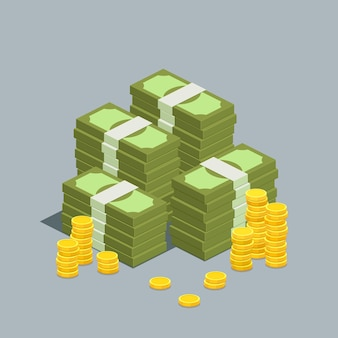 Concetto di grandi soldi. grande mucchio di contanti. centinaia di dollari. illustrazione isometrica.