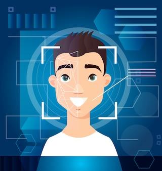 Concetto di identificazione digitale del riconoscimento del volto dell'uomo di scansione biometrica scansione della verifica del viso sullo schermo