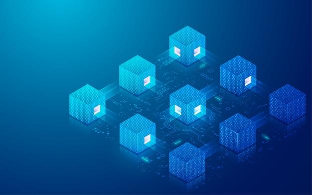 Concetto di tecnologia blockchain o big data, grafica di cubi digitali con elemento futuristico