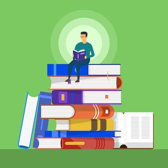 Libri concettuali. un uomo si siede su un libro per l'istruzione e l'apprendimento. illustrare.