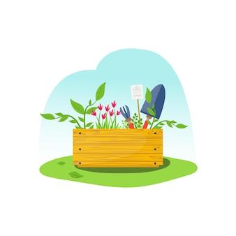 Concetto di una scatola di attrezzi da giardinaggio su erba verde. scatola in legno con spatola, scarificatore, fiori e pianta rampicante. giardinaggio, trapianto, attività primaverile, campagna. illustrazione vettoriale piatta