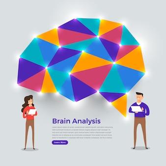 Concetto di pensiero di analisi del cervello. illustrazioni.