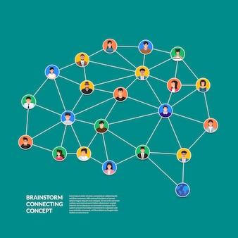 Concetto di brainstorming che collega le persone. illustrare.