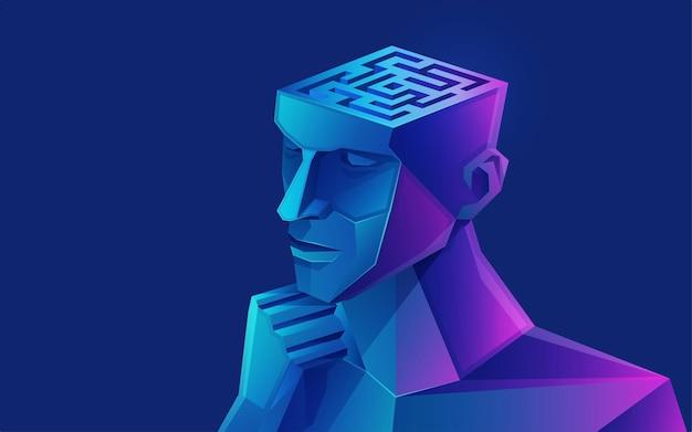 Concetto di brainstorming o pensiero creativo, grafica di una testa umana combinata con labirinto o labirinto