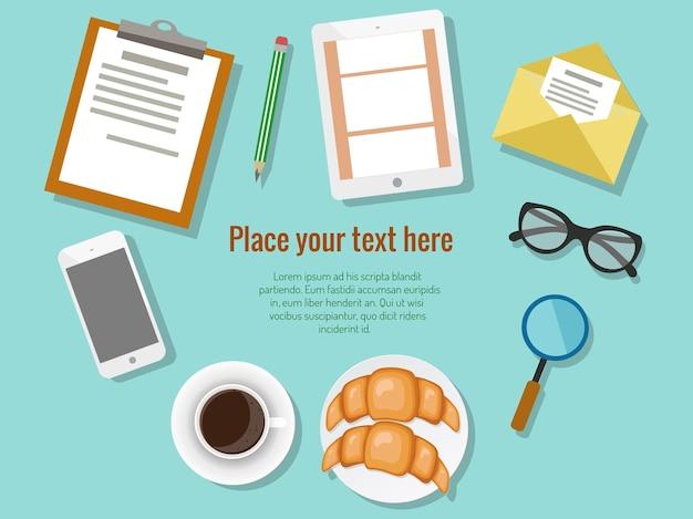 Concetto di pausa caffè per riunioni di lavoro con documenti per smartphone tablet digitale e vari uffici