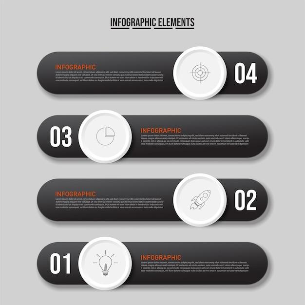 Concetto di modello di business con 4 passaggi successivi, modello di design moderno.