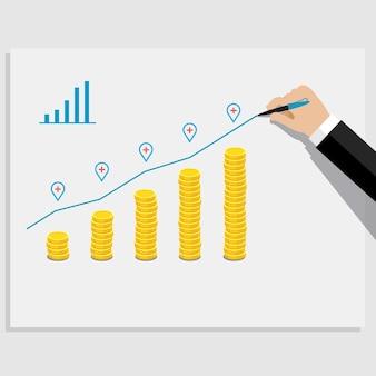 Concetto di successo aziendale. grafico con monete d'oro.
