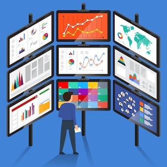 Concetto uomo d'affari analisi dati digitali. illustrare