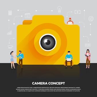 Macchina fotografica di concetto mobile. le persone del gruppo sviluppano il dispositivo mobile della fotocamera dell'icona. illustrare.