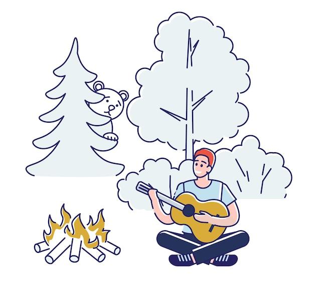 Concetto di campeggio e di paesaggi estivi. il personaggio si sta divertendo all'aperto.