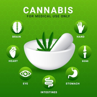 Concetto di cannabis per usi medici infografica