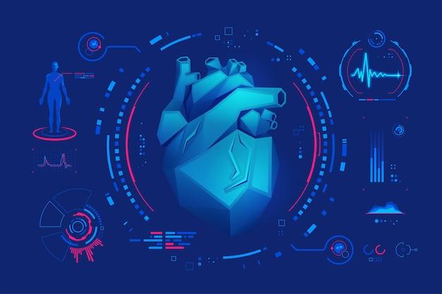 Concetto di cardiologia o tecnologia medica, grafica di cuore basso poli con interfaccia futuristica