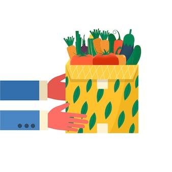 Concetto di confezioni di cartone con frutta e verdura per le icone di consegna. pacchi postali, pacchi, scatole. corriere che tiene in mano il pacco per il concetto di servizio di consegna online. vettore isolato