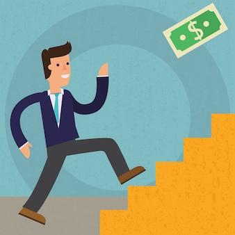 Concetto personaggio dei cartoni animati illustrazione uomo d'affari sale una scala di successo