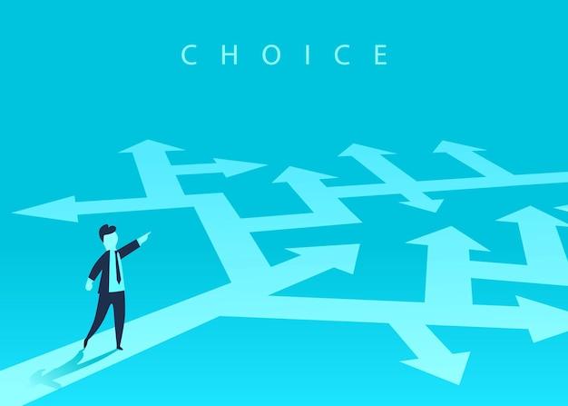 Il concetto di scegliere il modo di fare affari e un uomo d'affari che mostra la direzione