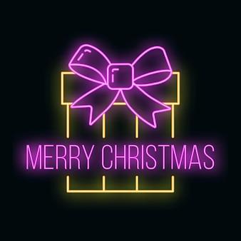 Concetto di scatola regalo di natale icona neon giallo bagliore stile, felice anno nuovo e buon natale piatto illustrazione vettoriale, isolato su nero. natale vacanze inverno.
