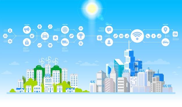 Città di concetto e vita suburbana. paesaggio urbano con grandi edifici moderni e sobborgo con case private. strada, autostrada con le auto.
