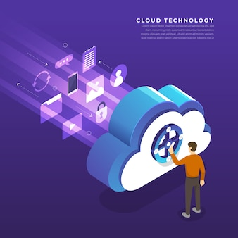 Concetto di cloud computing tecnologia utenti configurazione di rete isometrica. illustrazione.