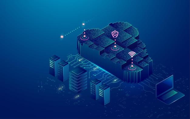 Concetto di cloud storage o data center, grafica del cloud computing con elementi tecnologici futuristici