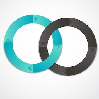 Concetto di striscioni circolari colorati con frecce per diversi design aziendali. illustrazione vettoriale