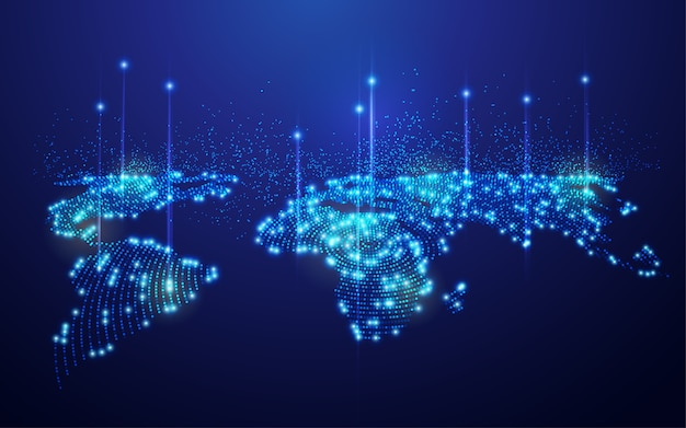 Concetto di tecnologia di comunicazione o rete globale, mappa del mondo tratteggiata con elemento futuristico