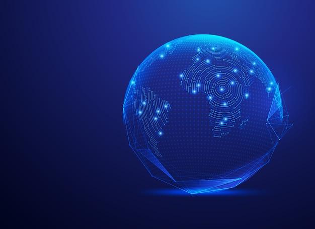 Concetto di tecnologia di comunicazione o rete globale, globo