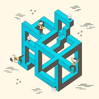 Concetto di confuso: uomo d'affari bloccato in un labirinto in stile linea