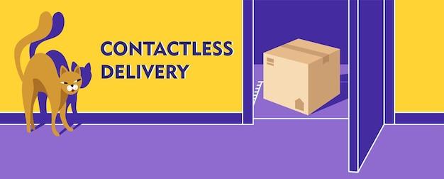 Il concetto di consegna porta a porta senza contatto. un gatto guarda attraverso la porta aperta.
