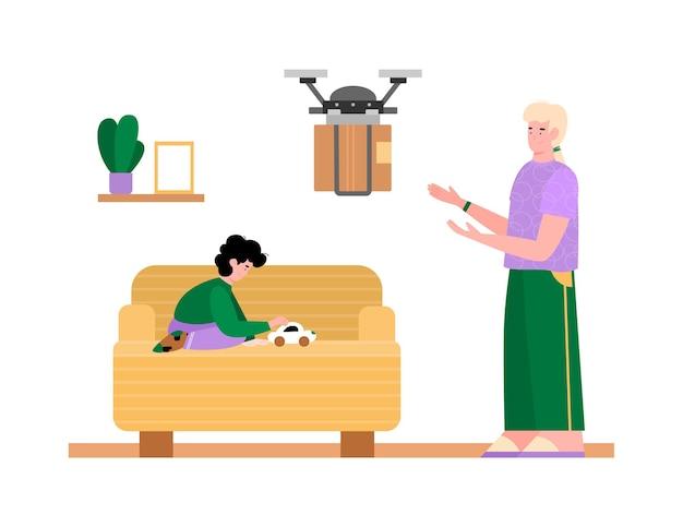 Concetto di consegna a domicilio senza contatto utilizzando un drone un'illustrazione piatta