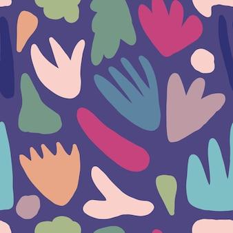 Concept design tessile tessuto contemporaneo. modello senza cuciture alla moda di forma abstact. forme colorate naturali moderne o macchie.