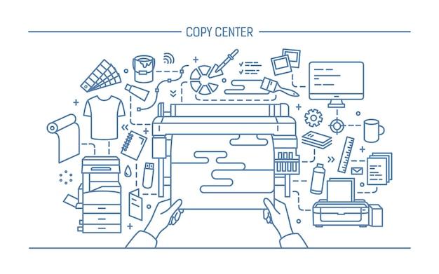 Concetto di copy center, tipografia, editoria. illustrazione con stampante, monitor, scanner, attrezzature diverse. illustrazione vettoriale in bianco e nero in stile lineart