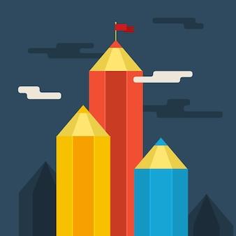 Concetto di successo creativo. raggiungimento degli obiettivi, montagna con bandiera. design piatto.