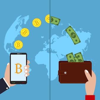 Concetto di tecnologia di criptovaluta scambio di bitcoin mobile banking