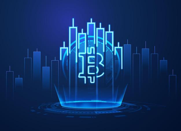 Concetto di tecnologia di criptovaluta, grafica del simbolo bitcoin combinato con candelabro azionario in tema di affari finanziari