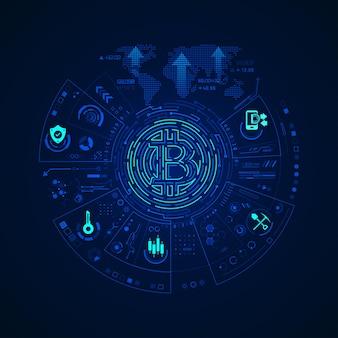 Concetto di tecnologia di criptovaluta, grafica del simbolo bitcoin con elemento di tecnologia finanziaria