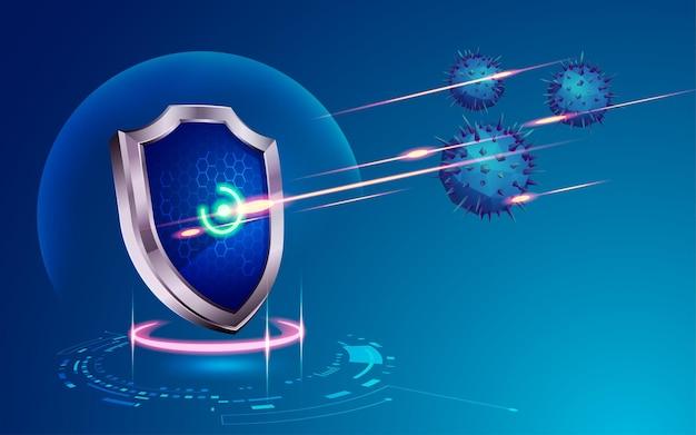 Concetto di tecnologia di sicurezza informatica, grafica di scudo futuristico che protegge dai virus informatici
