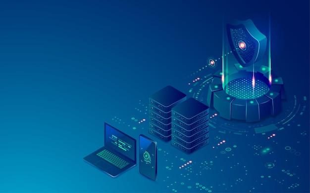Concetto di tecnologia di sicurezza informatica, grafica di scudo futuristico con data center e dispositivi di comunicazione