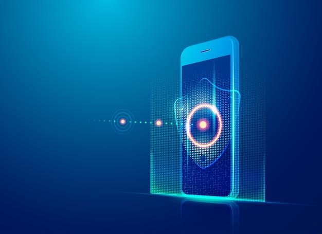 Concetto di tecnologia di sicurezza informatica, telefono cellulare realistico con elemento di protezione dei dati