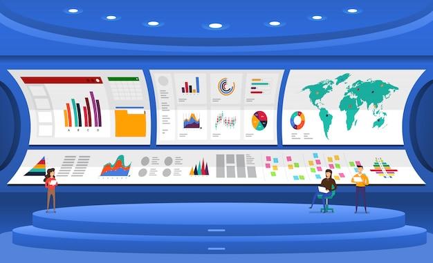 Analisi dei dati concettuali. visualizza con grafici e grafici la crescita del marketing. illustrazione.